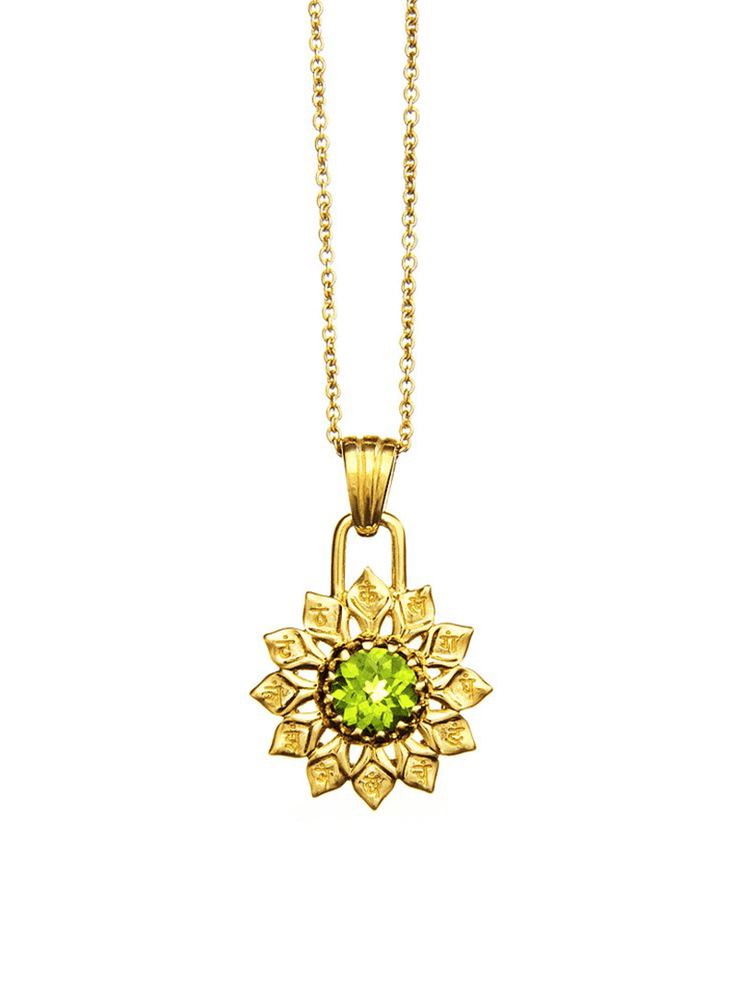 Eternal Bliss Spiritual necklaces Heart Chakra with Peridot Pendant - Gold