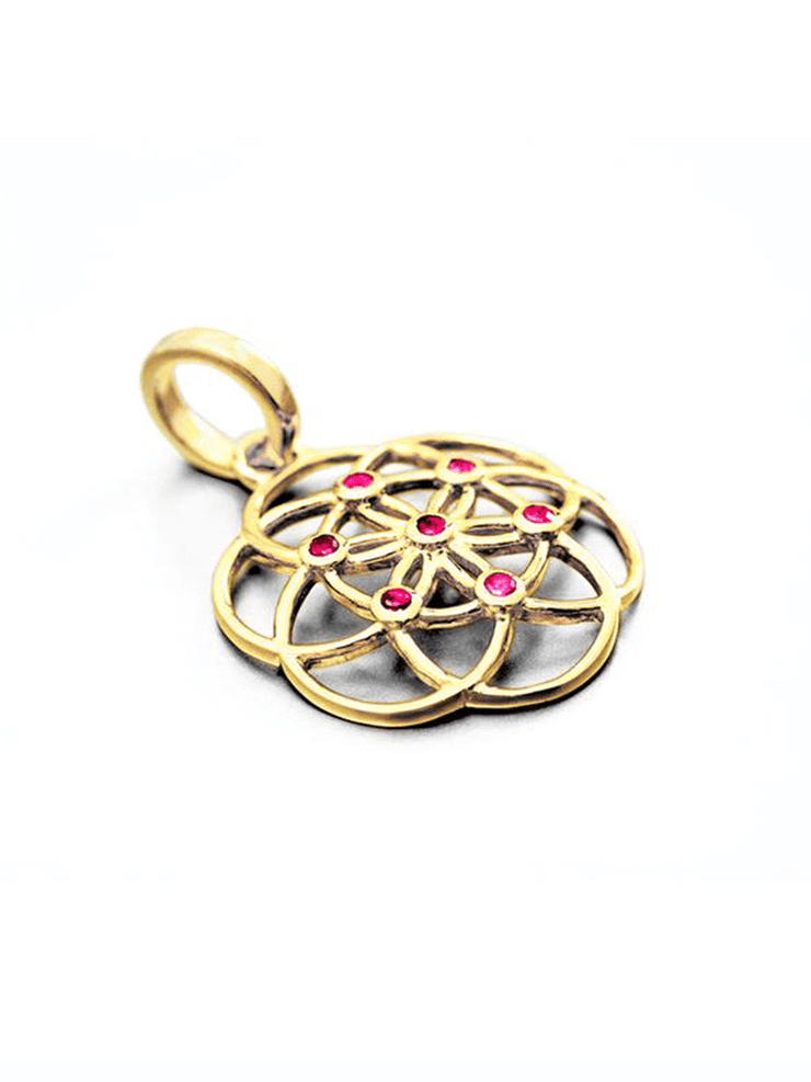 Eternal Bliss Spiritual necklaces Seed Of Life Ruby Gemstone Pendant