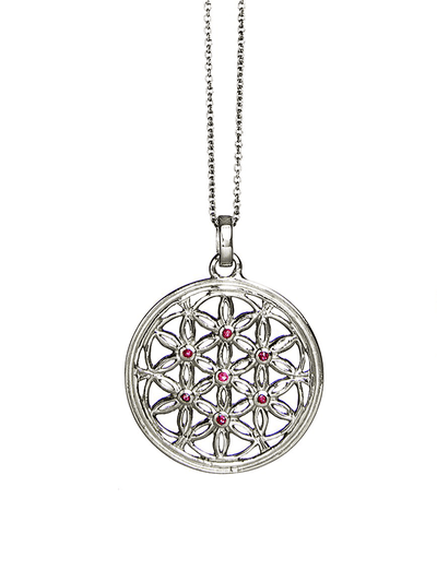 Eternal Bliss Spiritual necklaces Silver Flower of Life Ruby Gemstone Pendant
