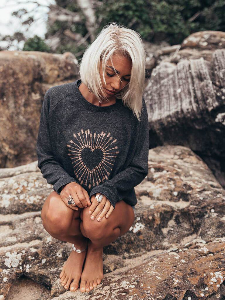 Shot To The Heart Sweater - 100% Cotton - Free Spirit - £49.95