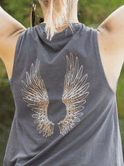 Angel Wings Flow Yoga Tank Top - Organic Cotton Bamboo - Free Spirit - £32.00