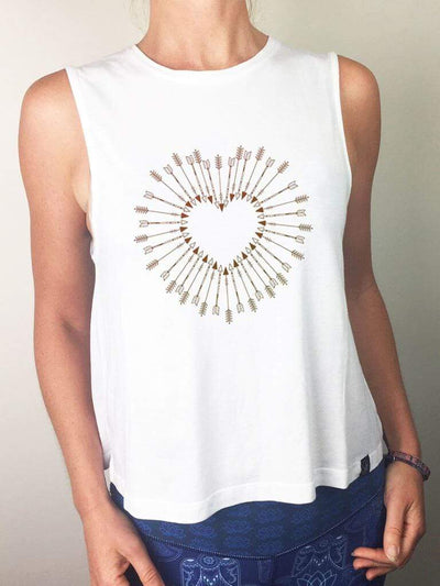 Shot To The Heart Flow Yoga Tank Top - Organic Cotton Bamboo - Free Spirit - £32.00
