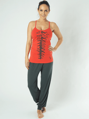 KISMET Tanks Small / Red Kali Yoga Tank - Red With Olive Print