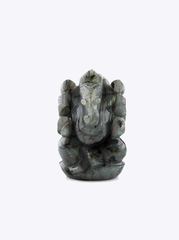 Kleem Home Accessories Grey Labradorite Stone Ganesha Ornament