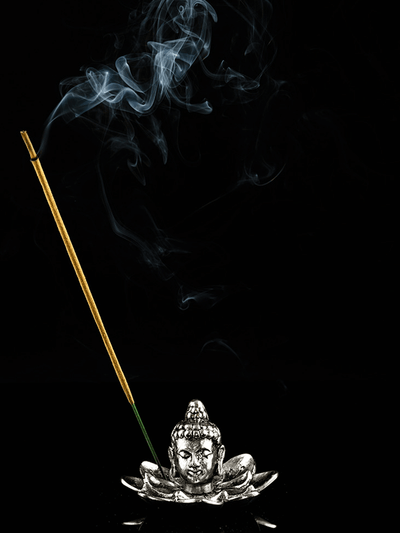 Kleem Incense  Silver The Lotus Buddha Incense Holder