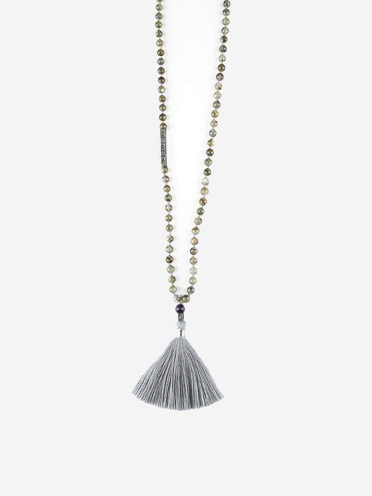 Kleem Mala necklaces Grey Gayatri Mala with Gayatri Mantra Bar