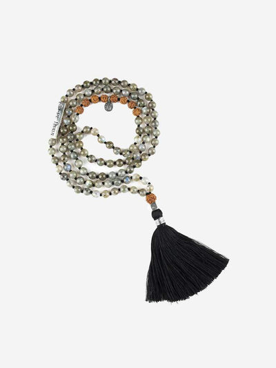 Kleem Mala necklaces Grey Himalaya Mala with Shiva Mantra Bar