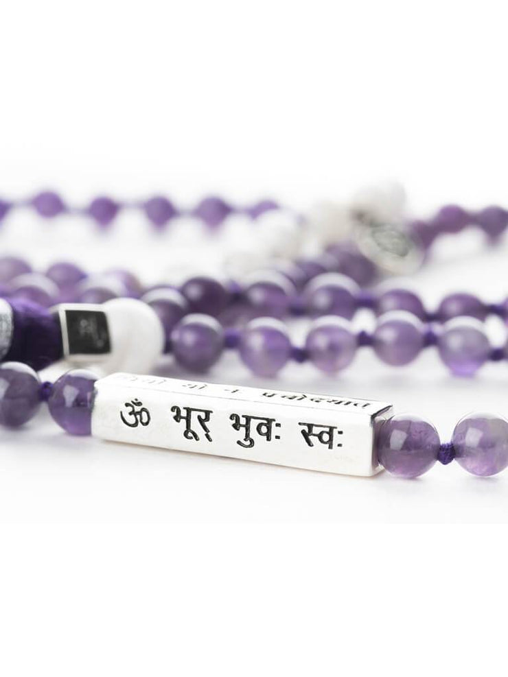 Kleem Mala necklaces Purple Divine Mala with Gayatri Mantra Bar