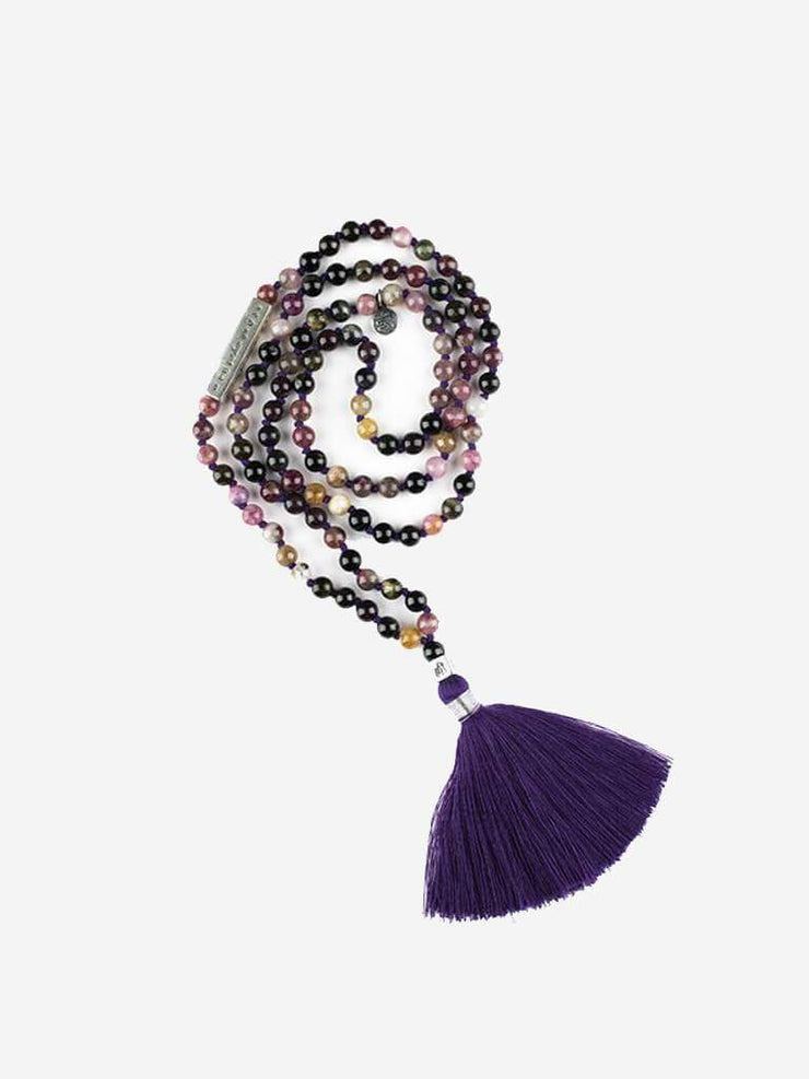 Kleem Mala necklaces Purple Durga Mala with Shakti Mantra Bar