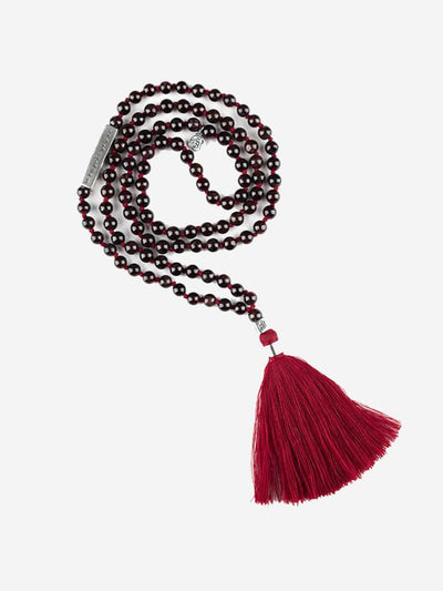 Kleem Mala necklaces Red Chamunda Mala with Shakti Mantra Bar