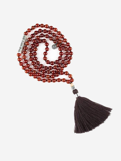 Kleem Mala necklaces Red Rig Veda Mala with Gayatri Mantra Bar