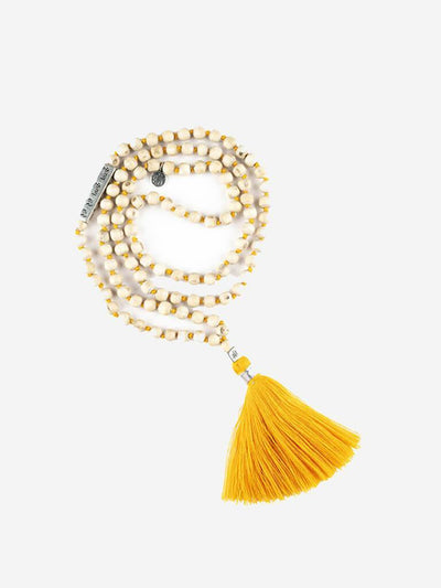 Kleem Mala necklaces Yellow Bhakti Mala with Krishna Mantra Bar