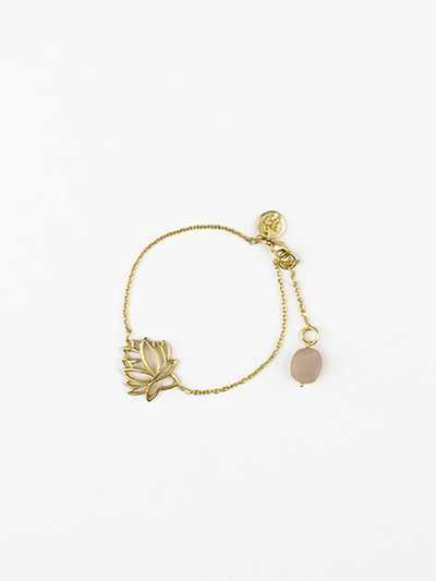 The Lotus Bracelet With Rose Quartz Drop - Kleem - £15.00