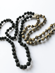 Lovetree Mala necklaces Black Lava & Dalmatian Jasper Mala
