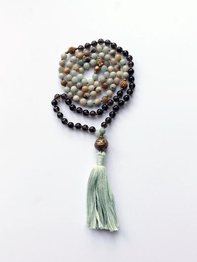 Lovetree Mala necklaces Multi Amazonite & Smoky Quartz Mala