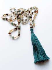 Lovetree Mala necklaces Multi Multistone Mala with Lotus Guru - Turquoise Blue Tassel