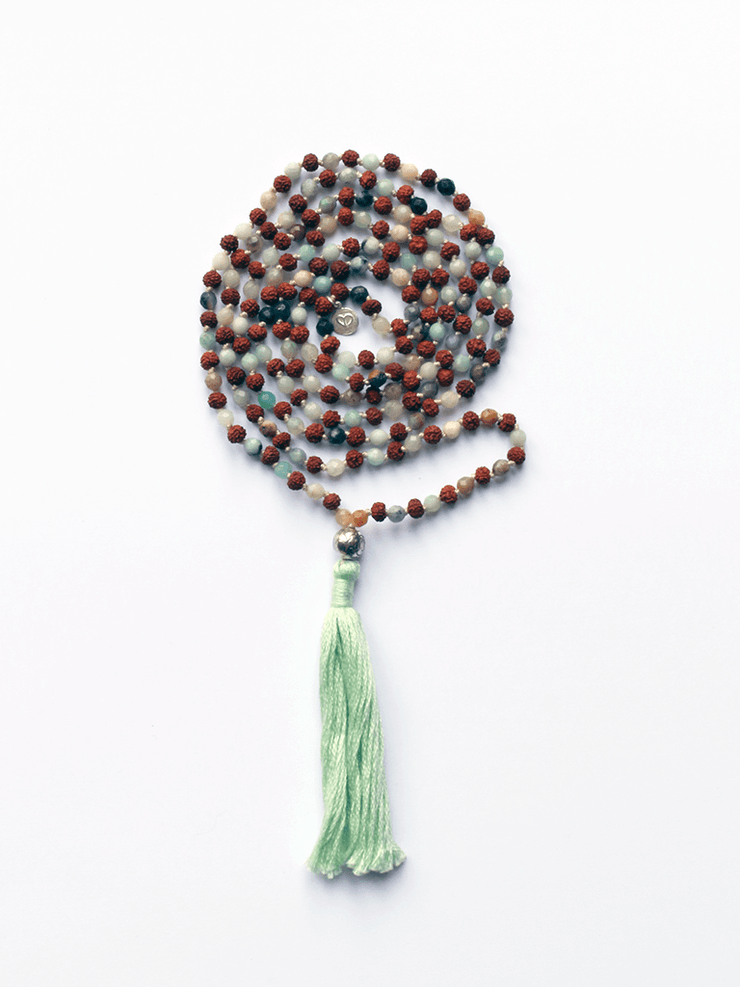 Lovetree Mala necklaces Multi Rudraksha & Faceted Amazonite Mala
