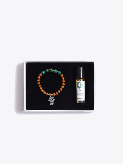 Made By Yogis Gift Boxes Sandalwood / Small / Silver Heart Chakra Bracelet & Essential Oil Gift Set
