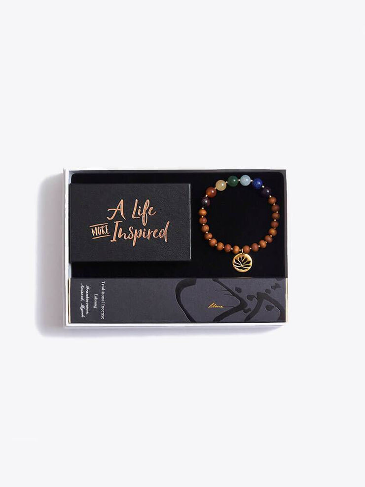 Made By Yogis Gift Boxes Small / Gold Chakra Bracelet, Inspirational Cards & Incense Sticks Gift Set