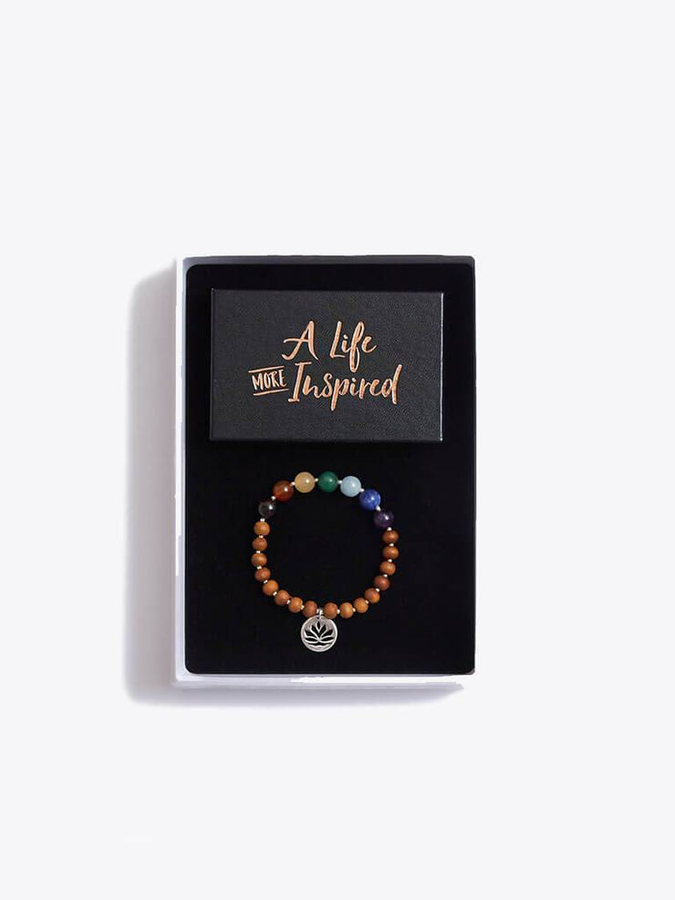 Made By Yogis Gift Boxes Small / Silver Chakra Bracelet & Inspirational Cards Gift Set