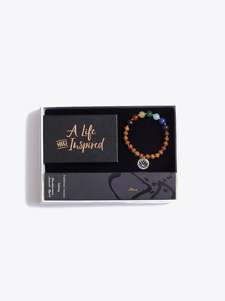 Made By Yogis Gift Boxes Small / Silver Chakra Bracelet, Inspirational Cards & Incense Sticks Gift Set
