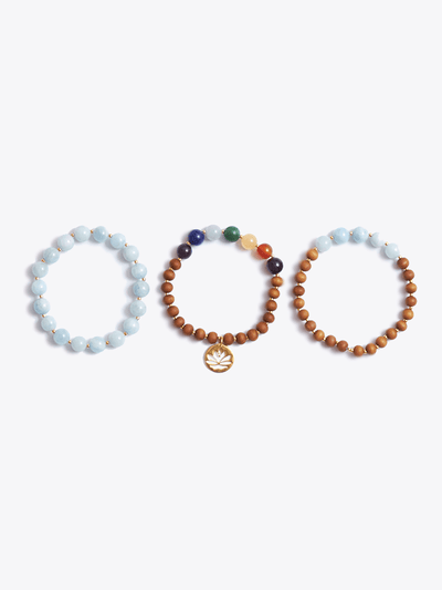 Made By Yogis Mala bracelets Blue Aquamarine Throat Chakra Bracelet Stack