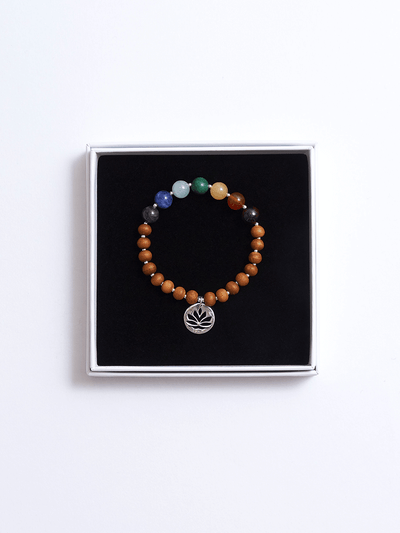 """I am Complete"" 7 Gemstone and Sandalwood Chakra Bracelet - YogaClicks - £40.00"