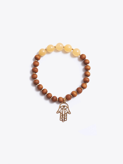 """I am Enough"" Ambronite and Sandalwood Solar Plexus Chakra Bracelet - YogaClicks - £40.00"