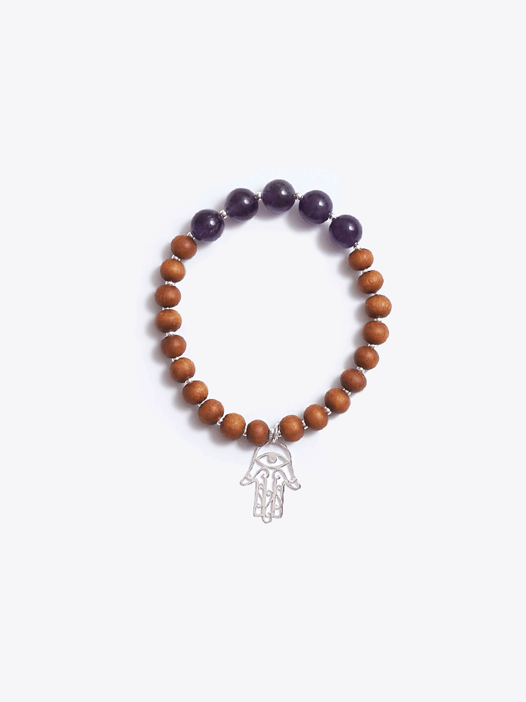 Made By Yogis Mala bracelets Healing Intentions Amethyst and Sandalwood Crown Chakra Bracelet