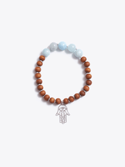 Made By Yogis Mala bracelets Healing Intentions Aquamarine and Sandalwood Throat Chakra Bracelet