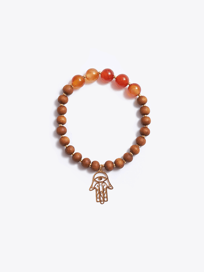 Made By Yogis Mala bracelets Healing Intentions Carnelian and Sandalwood Sacral Chakra Bracelet