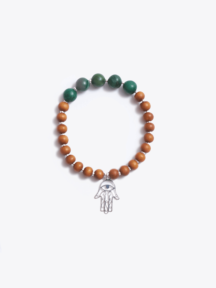 Healing Intentions Green African Jade and Sandalwood Heart Chakra Bracelet - Made By Yogis - £40.00