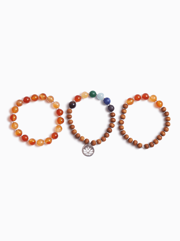 Made By Yogis Mala bracelets Orange Carnelian Sacral Chakra Stack