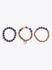 Made By Yogis Mala bracelets Purple Amethyst Crown Chakra Bracelet Stack