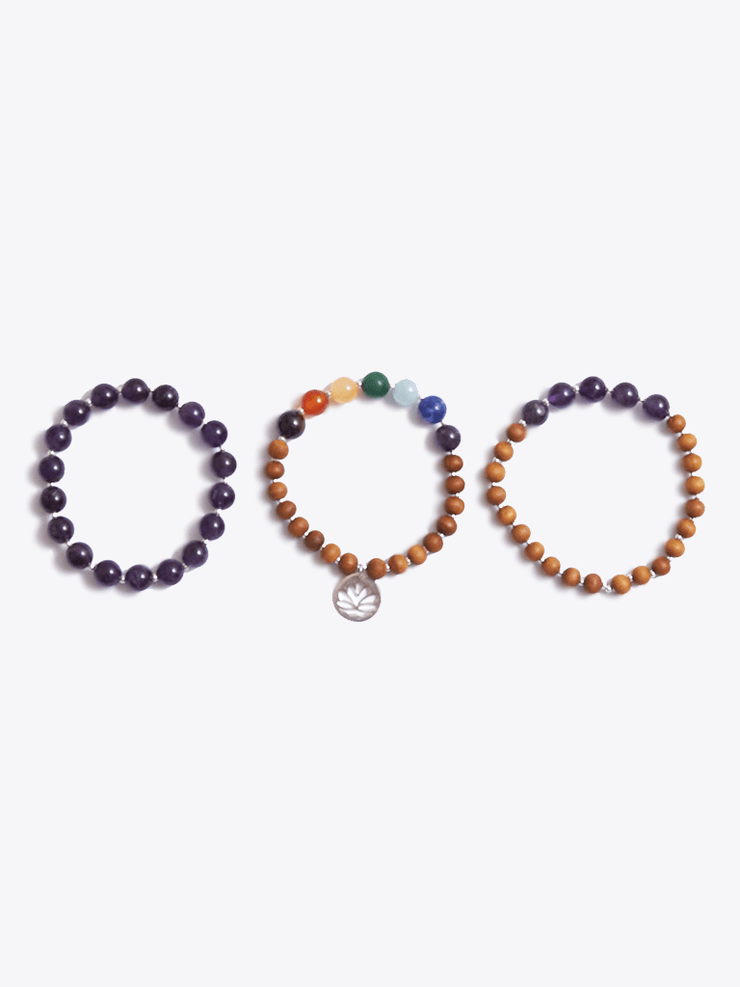 """I Am Peace"" Crown Chakra Bracelet Stack - YogaClicks - £95.00"