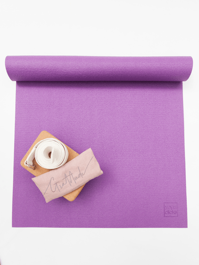 The Classic Eco Mat Yoga Bundle + Embroidered Linen Eye Pillow - YogaClicks - £61.92
