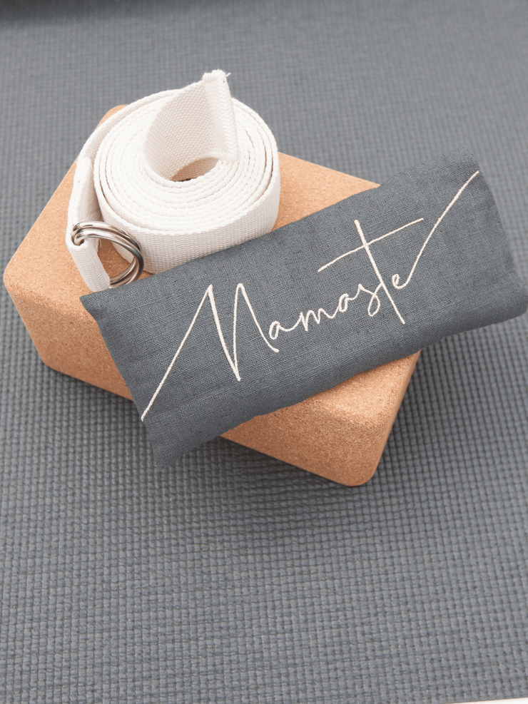 The Classic Grey Eco Mat Yoga Bundle + Embroidered Linen Eye Pillow