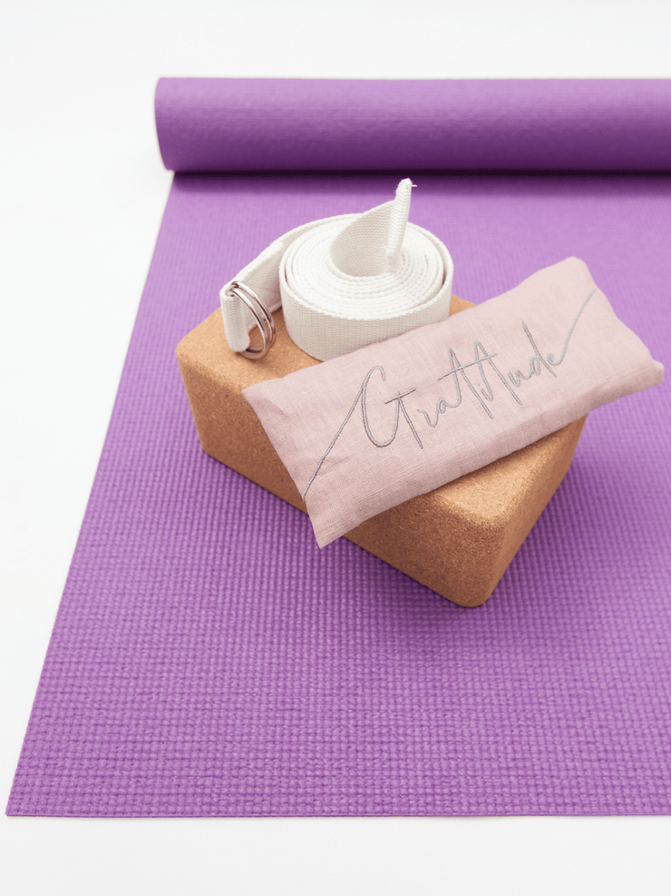 The Classic Purple Eco Mat Yoga Bundle + Embroidered Linen Eye Pillow - YogaClicks - £61.92