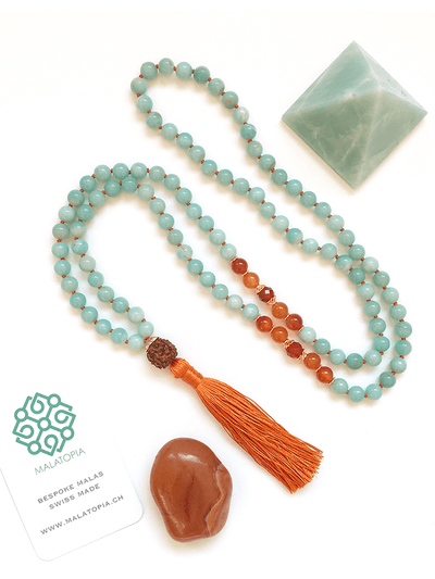 Malatopia Mala necklaces Blue Courage and Compassion Mala Necklace