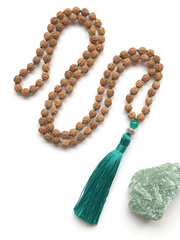 Malatopia Mala necklaces Green Rudraksha Meditation Mala Necklace - Green