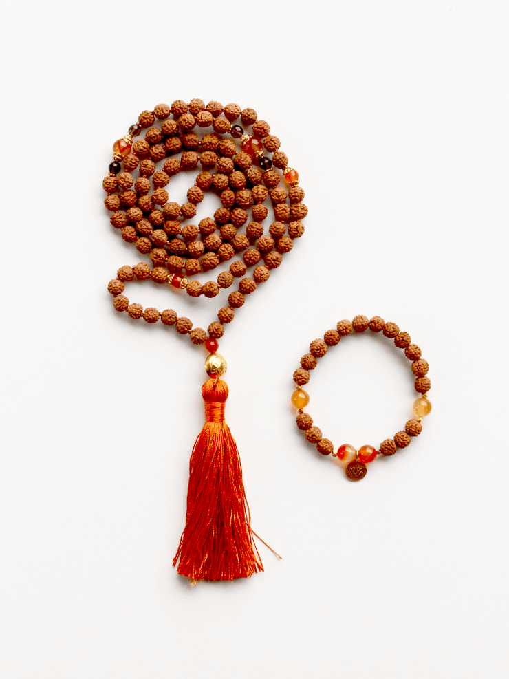 Malatopia Mala necklaces Orange Rudraksha Meditation Mala Necklace - Orange