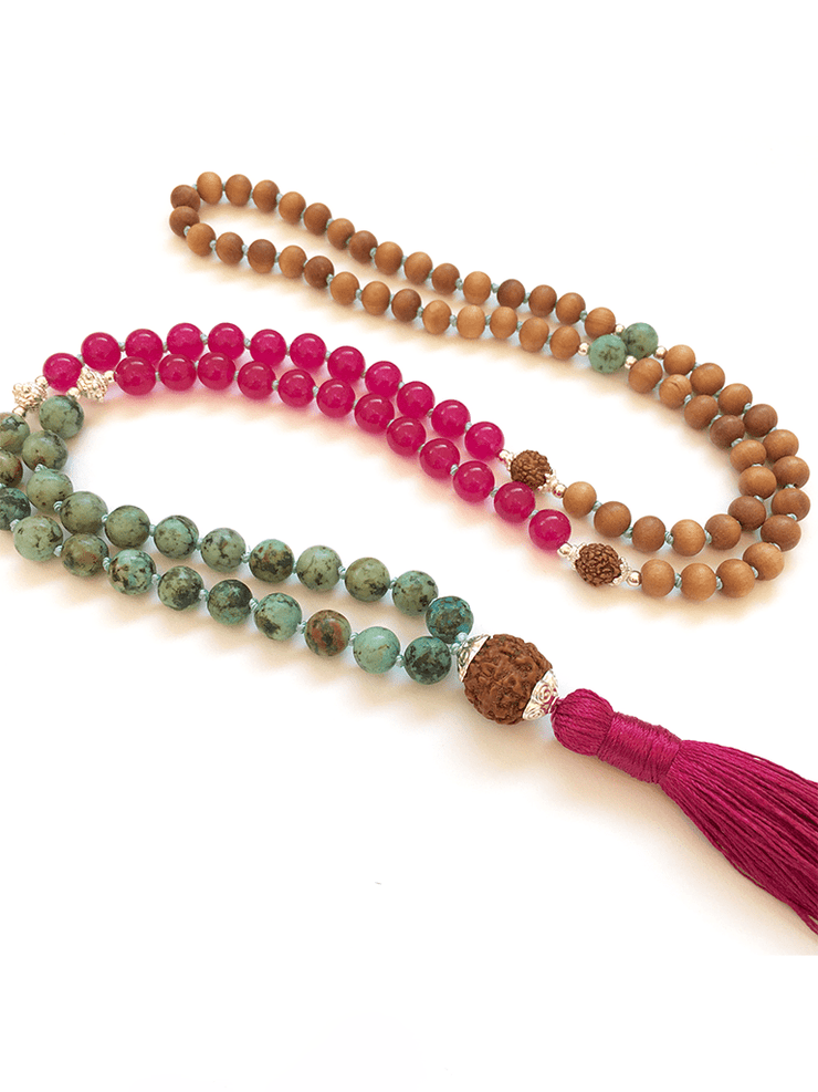 Malatopia Mala necklaces Pink Bougainvillia Mala Necklace