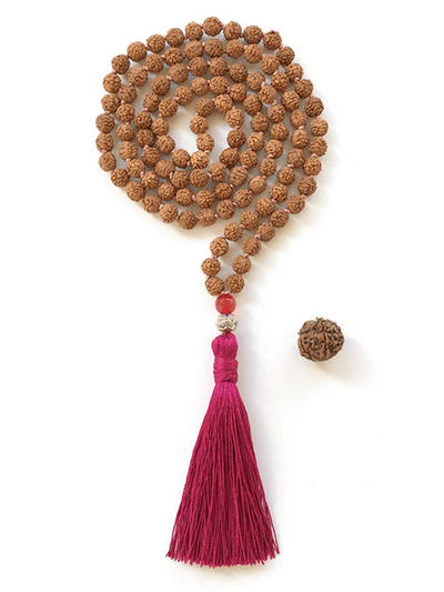 Malatopia Mala necklaces Pink Rudraksha Meditation Mala Necklace - Pink