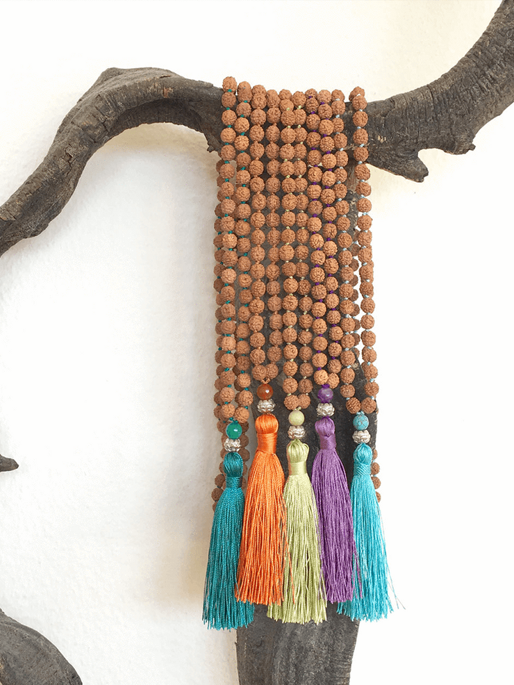 Malatopia Mala necklaces Yellow Rudraksha Meditation Mala Necklace - Yellow