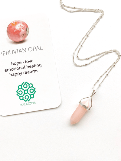 Malatopia Spiritual necklaces Peruvian Pink Opal Amulet Necklace