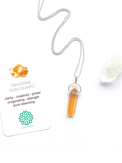Malatopia Spiritual necklaces Tangerine Aura Quartz Amulet Necklace