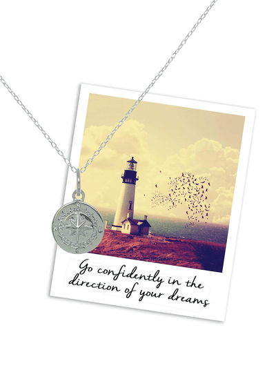 Mantra Jewellery Spiritual necklaces Silver Compass Necklace
