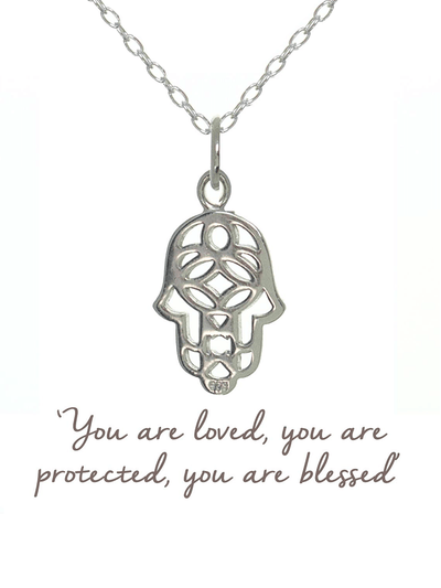 Mantra Jewellery Spiritual necklaces Silver Hamsa Hand Necklace