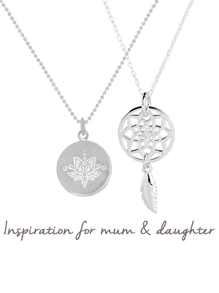 Mantra Jewellery Spiritual necklaces Silver Lotus Flower & Dream Catcher Necklace Set - Mum & Daughter