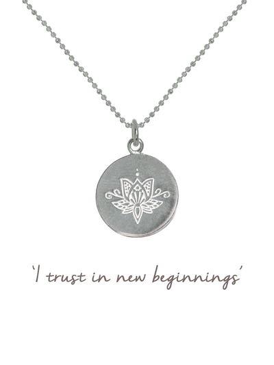 Mantra Jewellery Spiritual necklaces Silver Lotus Flower Necklace